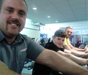 James and team on upright bikes