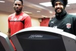 Fleetwood Town's Youl Mawene and Jamille Matt train inside YMCA Fleetwood
